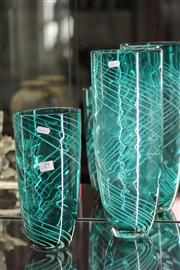 Sale 8160 - Lot 29 - Green Art Glass Pair of Graduated Vases