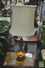 Sale 8272 - Lot 1018 - Brass And Amber Glass Table Lamp