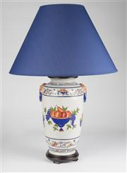 Sale 8350L - Lot 35 - A pair of French provincial style hand painted urn lamps with navy shades and fruit motif on timber base, total H 74cm, RRP $ 1240