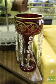 Sale 8499 - Lot 1024 - Pair of Ruby Glass Lustres