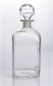 Sale 8528A - Lot 61 - A square form Georgian decanter, with associated cut stopper engraved with Roman numeral V, total H 25cm