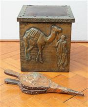 Sale 8590A - Lot 71 - A small square brass and leather topped fireside box/stool with camel and rider motif, H 31cm, together with a small set of copper b...