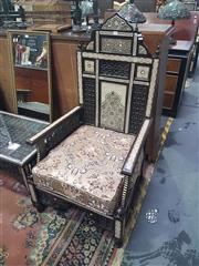 Sale 8648C - Lot 1018 - Mother of Pearl Inlaid Pair of Armchairs