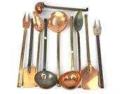 Sale 8730C - Lot 19 - Set of 5 Copper Kitchen Utensils and 5 others (10), length: 35cm (Approximately)