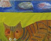 Sale 8708A - Lot 567 - Madonna Staunton (1938 - ) - Cat with Storm Clouds, 2014 20.5 x 25cm