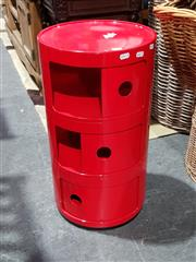 Sale 8777 - Lot 1063 - Red Kartell Style Stacking Bedside