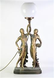Sale 8905S - Lot 612 - A table lamp in the form of classical maidens carrying fruit, crack to shade. Height 86cm