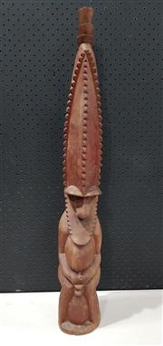 Sale 8951 - Lot 1095 - Carved Timber Cultural Statue (H: 74cm)