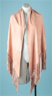 Sale 9027F - Lot 31 - A dusty pink suede shawl with tassels