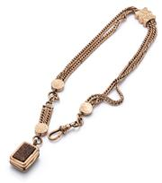Sale 9083 - Lot 470 - A VINTAGE GOLD PLATED ALBERTINA; 2 rows of double curb chain with engraved slide and terminals attached with a swivel clasp and chai...