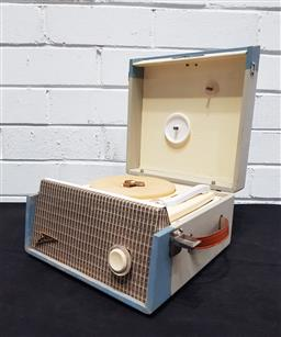 Sale 9117 - Lot 1035 - His Masters Voice battery powered portable radiogram (h:14cm)