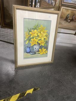 Sale 9123 - Lot 2086 - Olive McAleer  Lilly Study, watercolour, frame: 73 x 58 cm, signed lower left