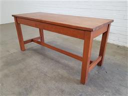Sale 9151 - Lot 1304 - Vintage timber works bench on stretcher base(h:77 x w:168 x d:67cm)