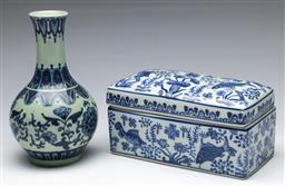 Sale 9164 - Lot 224 - A Moyses Stevens blue and white lidded container (W:20cm) together with a Chinese vase (H:21cm)