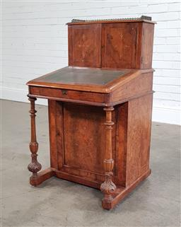 Sale 9215 - Lot 1025 - Good Victorian Inlaid Burr Walnut Davenport Desk, with stationery cabinet section having brass gallery & fitted with pigeon-holes an...