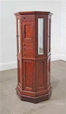 Sale 9215 - Lot 1072 - Early 20th Century Oak Revolving Dental Cabinet, fitted with multiple doors including mirrors & several pivoting drawers  (h:142 x w...