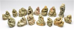 Sale 9255S - Lot 96 - A rare set of fifteen Chinese Shoushan carved stone figures Height 10cm