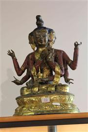 Sale 8032 - Lot 72 - Mongolian Gilt Copper & Polychrome Figure of Ushnishavijaya