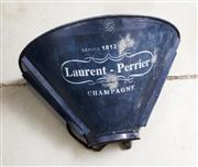 Sale 8202A - Lot 71 - An antique French zinc grape pickers hod, painted blue marked 'Laurent Perrier Champagne', approx W 65cm, some rubbing and wear wide