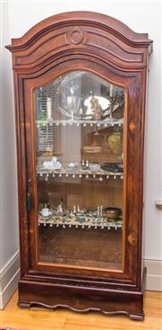 Sale 8284A - Lot 56 - An antique mahogany single door arched top display cabinet, height 230, width 98, depth 44cm
