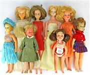 Sale 8330T - Lot 105 - Eight 1960s Fashions Dolls; blond Sindy (1996-67), 2 x Tressy style hair grow dolls, 2 x Pepper by Ideal, Tuppence by  Lincoln...