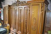 Sale 8338 - Lot 1353 - Ornately Carved Timber Wardrobe with Four Doors & Eight Drawers Below (4 x Keys in Office)