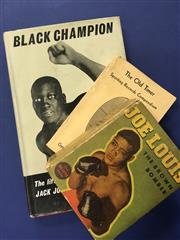 Sale 8419A - Lot 90 - Jack Johnson - a box containing Jack Johnson is a Dandy, Black Champion, Joe Louis: The Brown Bomber, etc