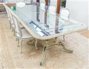 Sale 8471H - Lot 37 - A Le Forge French inspired mirror top dining table with decorative stretcher and birdcage base with acanthus detail , H 77 x L 300 x...
