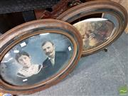 Sale 8474 - Lot 2034 - 2 Oval with Glass Framed Prints & a Hanging Decorative Wood Framed Mirror