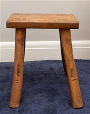 Sale 8741A - Lot 87 - An Elm four legged stool of peg construction, H x 52cm, W x 42cm, D x 43cm