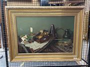 Sale 8910 - Lot 2026 - George Bailey - Musical Still Life, 1990 oil on canvas, (AF), signed lower right, 74 x 100cm, signed lower right