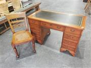 Sale 8959 - Lot 1019 - Leather Top Timber Desk With 9 Drawers & Desk Chair With Rattan Base (H:77 x W:122 x D:61cm)