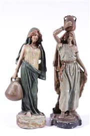 Sale 9010D - Lot 756 - Ceramic figure of a water barer (H43cm) together with another (with losses)