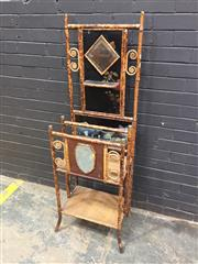 Sale 9048 - Lot 1091 - Late 19th Century English or French Tortoiseshell Finish Cane Hallstand, with diamond mirror back with small shelf & painted Japanes...
