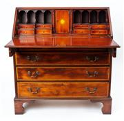 Sale 9044J - Lot 21 - An antique English Georgian revival inlaid writing bureau C: 1925. The top cross banded in satinwood with ebonised double line inlay...