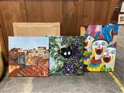 Sale 9069 - Lot 2061 - Ilona Mocsan (Three works)  Send in the Clowns, Butterfly & st Emilion, France, oil on canvas, various sizes, -
