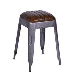 Sale 9140F - Lot 172 - A high veg leather top square iron stool. Dimensions: W34 x D34 x H52 cm