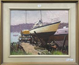 Sale 9152 - Lot 2006 - Allan Waite  On the Slips, The Spit, oil on canvas board, frame: 49 x 59 cm, signed lower left -