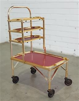 Sale 9171 - Lot 1045 - English 4 tier drinks trolley with removable trays by Woodmet (h:76 x w:48 x d:32cm)