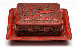 Sale 9175 - Lot 54 - A Chinese Red Lacquered Cinnabar Style Lidded Case With Under Tray (Length 18cm Width 10cm)