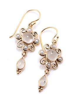 Sale 9221 - Lot 364 - A PAIR OF MOONSTONE AND PEARL EARRINGS; 9ct gold wire work frames each centring a round cabochon moonstone to seed pearl suuround su...
