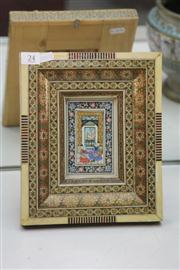 Sale 8276 - Lot 24 - Persian Painted Miniature in an Ornate Inlaid Frame