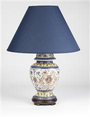 Sale 8350L - Lot 37 - A pair of French provincial style hand painted polychrome urn lamps with navy shades on timber base, total H 53cm, RRP $ 650