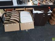 Sale 8563T - Lot 2490 - Two Boxes of Assorted Manchester with a Faux Leather Washing Basket