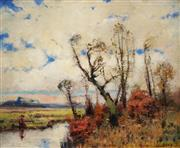 Sale 8606 - Lot 584 - Desire Merny (1865 - 1947) - Autumn Landscape 41.5 x 50.5cm