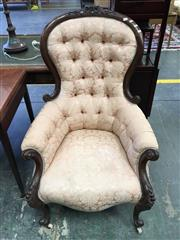 Sale 8666 - Lot 1064 - Victorian Carved Walnut Gentlemans Armchair, with cream buttoned upholstery & cabriole legs on castors