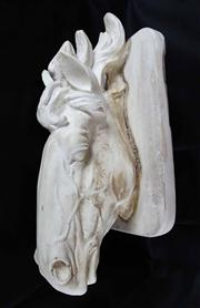 Sale 8828A - Lot 71 - Vintage carved plaster horse head mounted on a timber board. 52 x 23 cm
