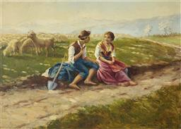 Sale 9096A - Lot 5056 - Artist Unknown (Eastern European School) - Young Shepards with Flock 49.5 x 70 cm (frame: 68 x 89 x 3 cm)