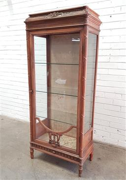 Sale 9126 - Lot 1195 - Louis XVI Style Carved Walnut Display Cabinet or Vitrine, with stepped top, single astragal door, enclosing glass shelves, raised on...