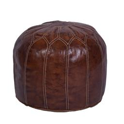 Sale 9140F - Lot 173 - A round high veg leather ottoman with white stitching. Dimensions: W48 x D48 x H36 cm